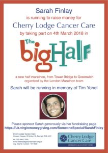 Running the Big Half in support of Cherry Lodge - please sponsor Sarah @ Big Half route | United Kingdom