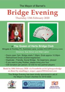 Mayor of Barnet's Bridge Evening @ Queen of Hearts Bridge Club, Wingate & Finchley FC | England | United Kingdom