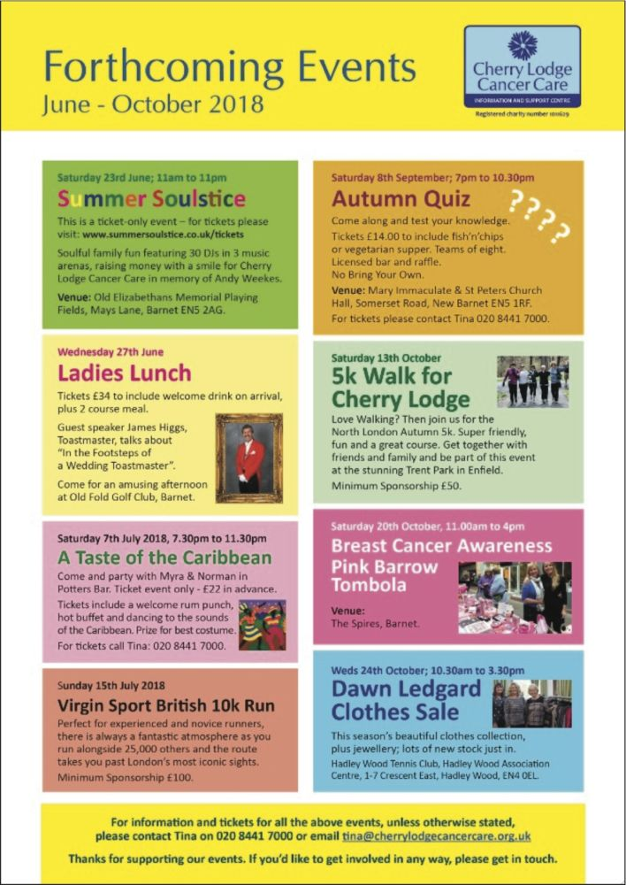 advance notice of forthcoming fundraising events june to october