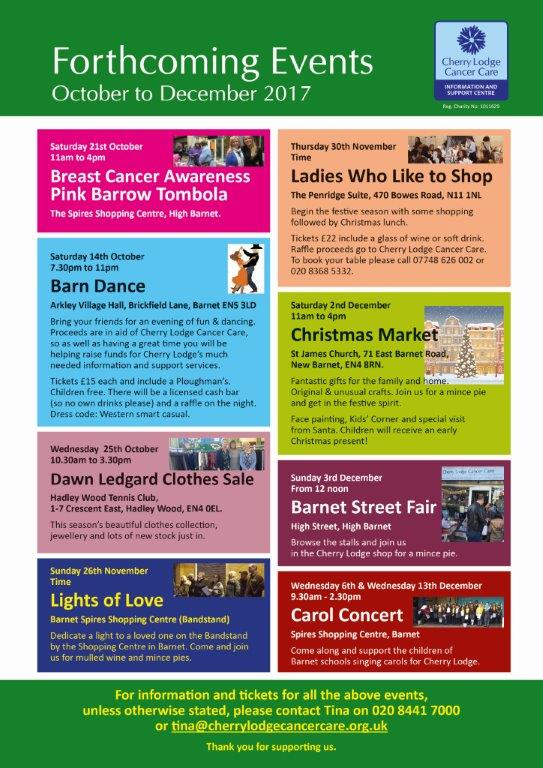 Advance Notice of Forthcoming Fundraising Events, October to