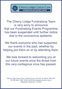 CL Fundraising Events cancelled to end of May