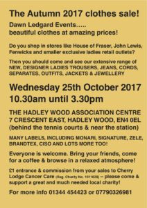 Dawn Ledgard Autumn 2017 Clothes Sale @ Hadley Wood Association Centre | England | United Kingdom