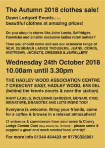 Dawn Ledgard's Autumn 2018 Clothes Sale @ Hadley Wood Association Centre | England | United Kingdom