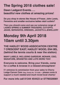 Dawn Ledgard Spring 2018 Clothes Sale @ Hadley Wood Association Centre | England | United Kingdom