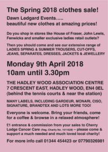 Dawn Ledgard Spring 2018 Clothes Sale @ Hadley Wood Association Centre | England | United Kingdom