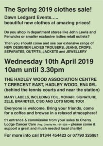 Dawn Ledgard's Spring 2019 Clothes Sale @ Hadley Wood Association Centre | England | United Kingdom