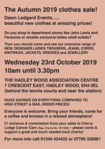 Dawn Ledgard's Autumn 2019 Clothes Sale @ Hadley Wood Association Centre | England | United Kingdom