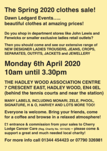 Dawn Ledgard Spring 2020 Clothes Sale @ Hadley Wood Association Centre | England | United Kingdom