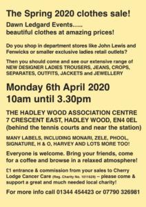 Dawn Ledgard Spring 2020 Clothes Sale @ Hadley Wood Association Centre | England | United Kingdom