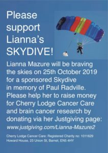 Lianna's Skydive for Charity - new date to be announced