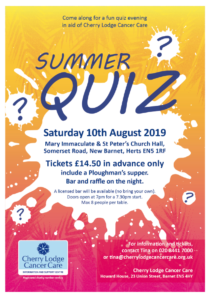 Cherry Lodge Summer Quiz 2019 @ Mary Immaculate & St Peters Church Hall | New Barnet | England | United Kingdom